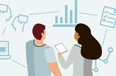Illustration of two people looking at data
