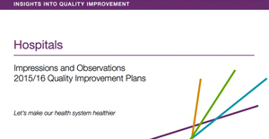 Cover of Quality Imporvement Plan Insights Report for the hospital sector