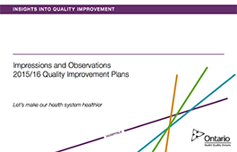 Cover of Quality Improvement Plan Insights Report for the hospital sector