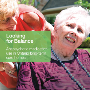 Front cover of Looking for Balance - a specialized report about anti-psychotic medication use in long-term care homes in Ontario