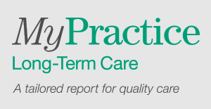 MyPractice Long-Term Care wordmark with blood pressure cuff icon