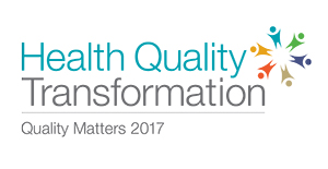 Health Quality Transformation logo with text and abstract image of people collaborating