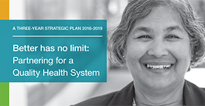 Front cover of Health Qualty Ontario's Strategic Plan, featuring a portait of an employee