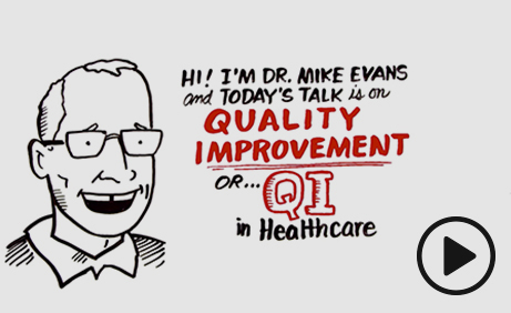 Sketch of Dr. Mike Evans talking about Quality Improvement in Healthcare