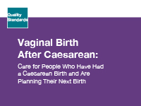 The clinical guide cover for Vaginal Birth After Caesarean